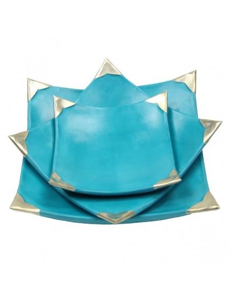 Assiettes Tadelakt carrées medium turquoise 2