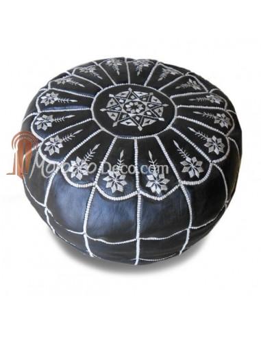 Pouf marocain design arcade en cuir noir et blanc, pouf en cuir véritable fait main