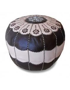 Pouf marocain design arcade en cuir marron et creme, pouf en cuir véritable fait main