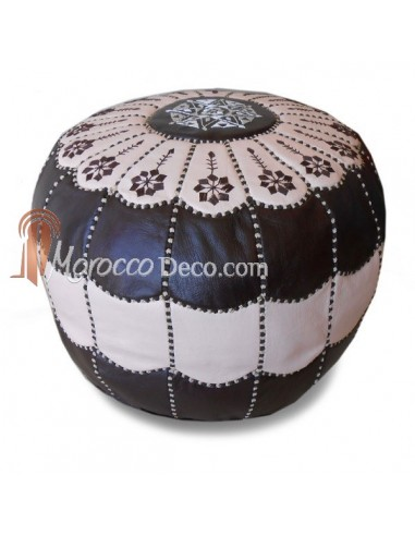 pouf marocain design arcade en cuir marron et creme un pouf en cuir. Black Bedroom Furniture Sets. Home Design Ideas