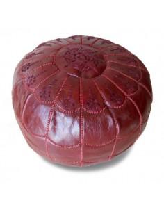 Pouf marocain design arcade en cuir blanc, pouf en cuir véritable fait main