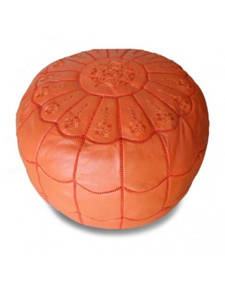 Pouf marocain design arcade en cuir orange broderie orange, pouf en cuir véritable fait main
