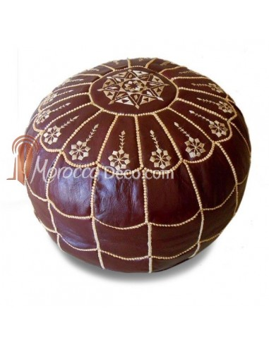 Pouf marocain design arcade en cuir orange, pouf en cuir véritable fait main