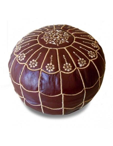 Pouf marocain design arcade en cuir caramel et broderie creme, pouf en cuir véritable fait main