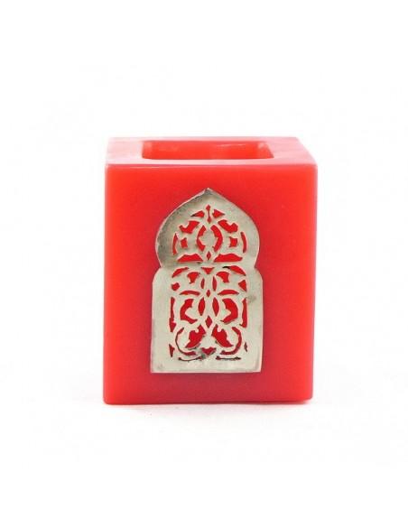 Photophore rouge cube motif porte arcade métal