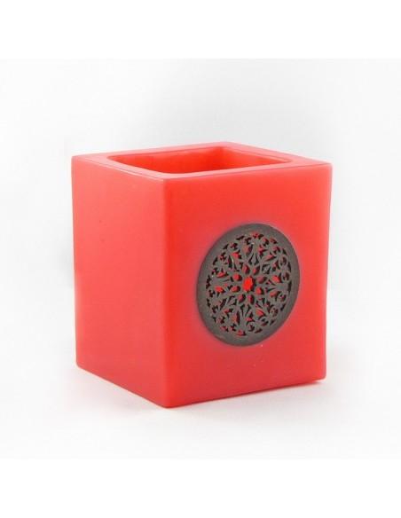 Photophore cube motif rosaceen rouge