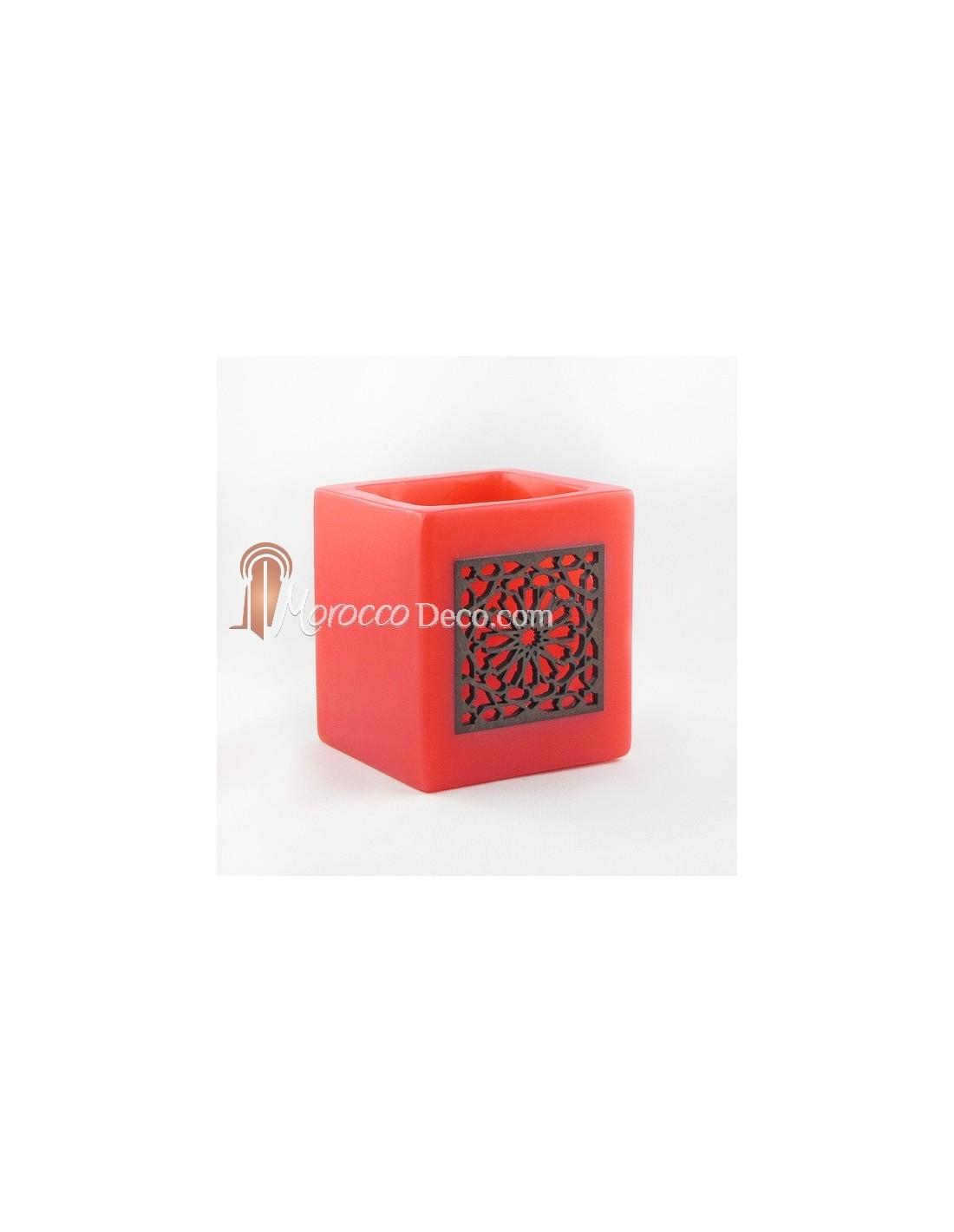 photophore cube rouge motif carr mouchaibieh. Black Bedroom Furniture Sets. Home Design Ideas
