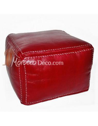 Pouf carré marron bordeau en cuir surpiqué