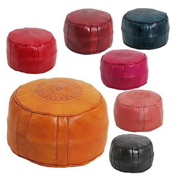 Pouf rond rosace Orange, pouffe en cuir veritable fait main