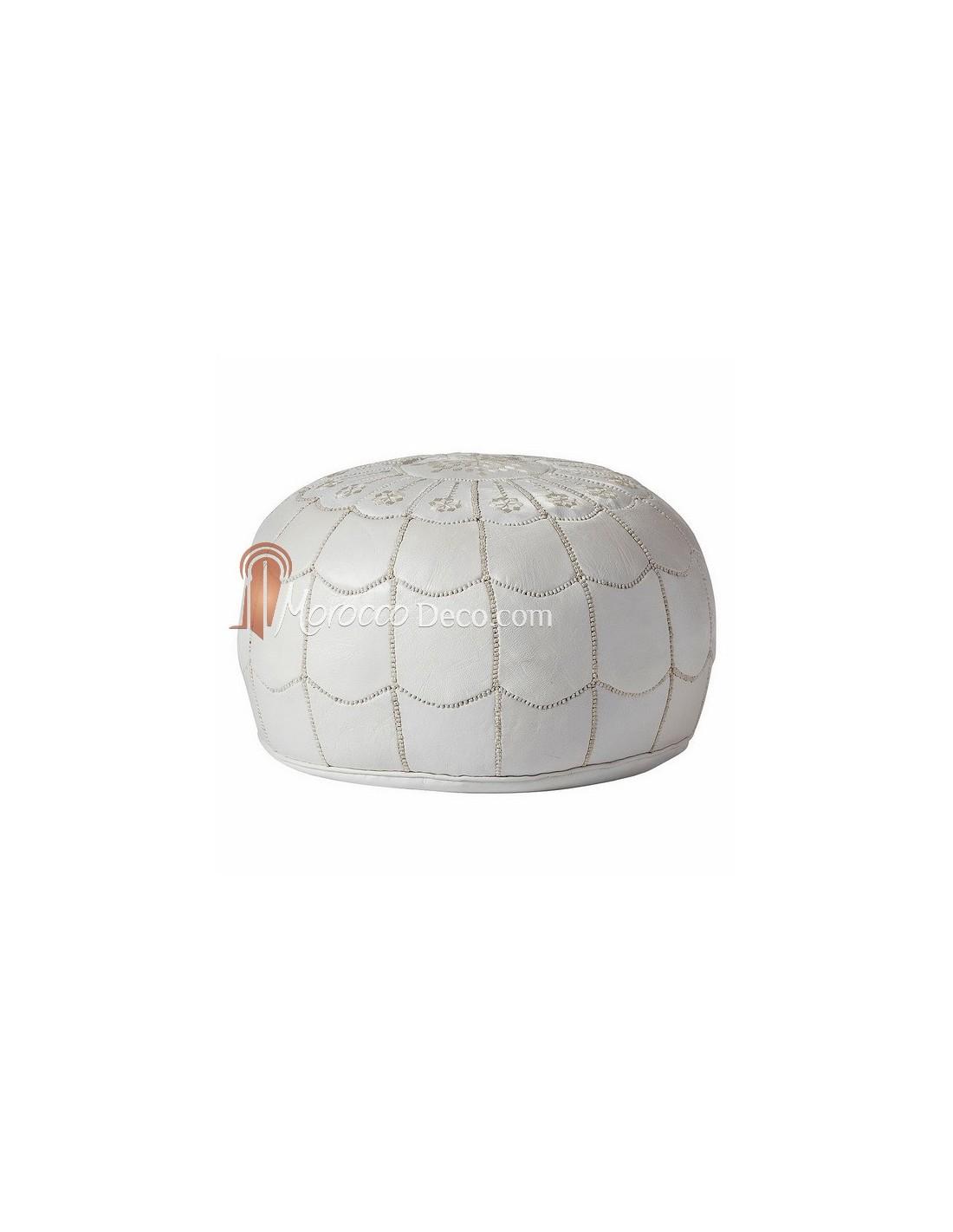 pouf marocain design arcade en cuir blanc fabriqu et cousu la main. Black Bedroom Furniture Sets. Home Design Ideas