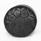 Pouf Nejma en cuir noir pouf marocain en cuir véritable fait main
