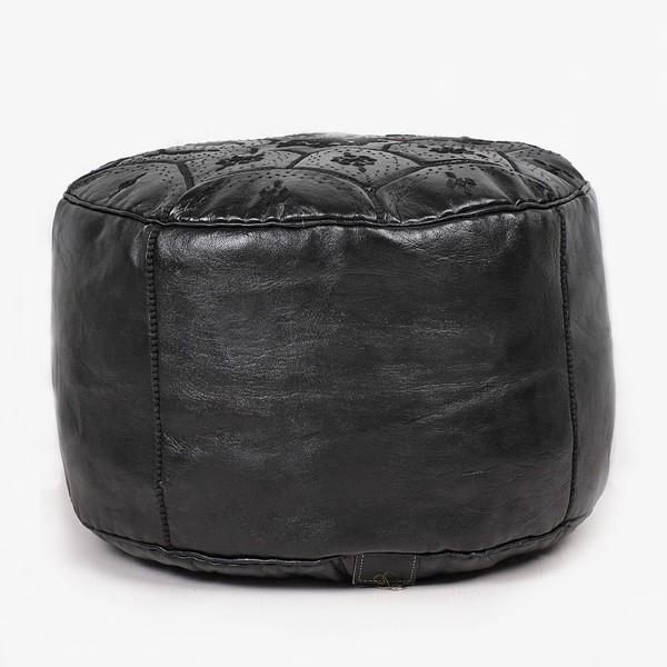 Pouf Nejma en cuir noir pouf marocain en cuir véritable fait main-2