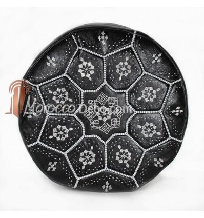 Pouf Nejma en cuir noir coutures blanches, pouf marocain en cuir véritable fait main