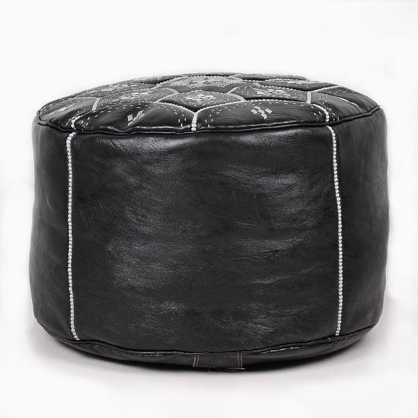 Pouf Nejma en cuir noir coutures blanches, pouf marocain en cuir véritable fait main-2