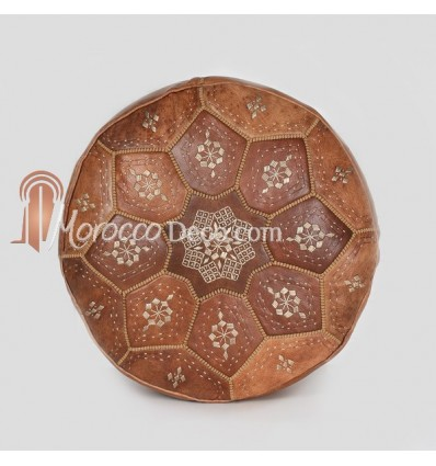 Pouf Nejma en cuir tanné brun, pouf marocain en cuir véritable fait main