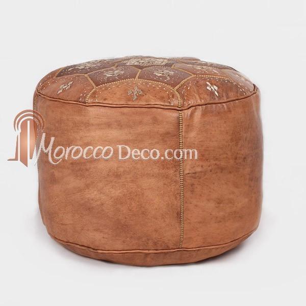 pouf nejama en cuir tann camel pouf marocain en cuir v ritable fait main pouf artisanal. Black Bedroom Furniture Sets. Home Design Ideas