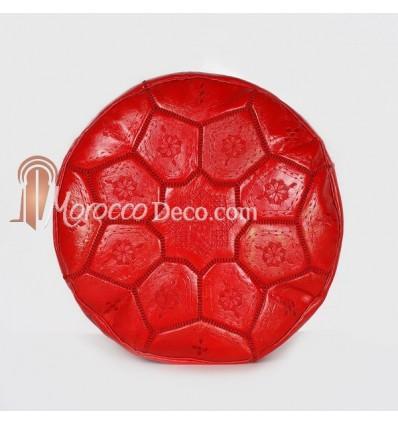 Pouf Nejma rouge en cuir pouf marocain en cuir véritable fait main