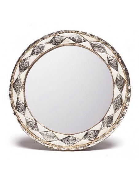 Miroir rond orné et décoré couleur ivoire, miroir fait main