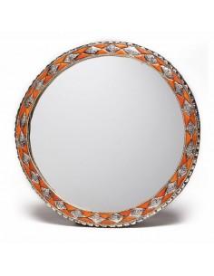 Grand miroir rond orné et décoré couleur corail, miroir fait main