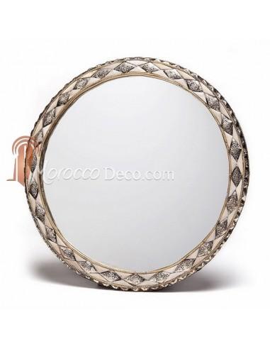 grand miroir rond orn et d cor couleur ivoire miroir fait main. Black Bedroom Furniture Sets. Home Design Ideas