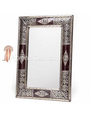 Grand miroir rectangulaire d cor de bois et m tal miroir for Grand miroir metal