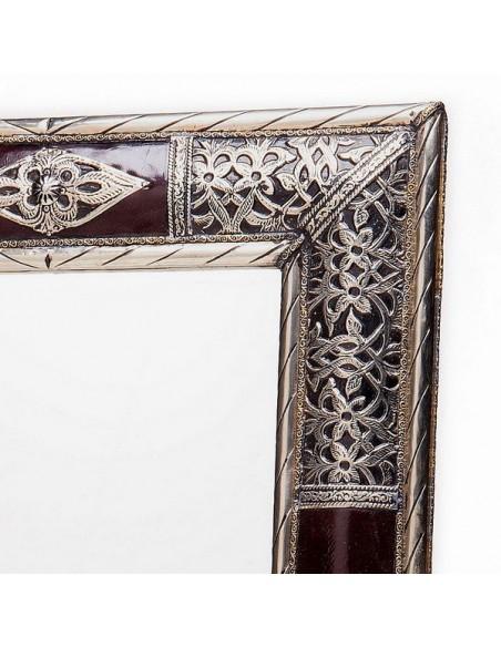 Grand miroir rectangulaire décoré de bois et métal, miroir fait main