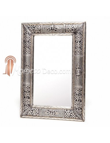 Grand miroir rectangulaire en metal grav et alv ol for Grand miroir metal