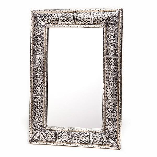 Grand miroir rectangulaire en metal grav et alv ol for Miroir oriental