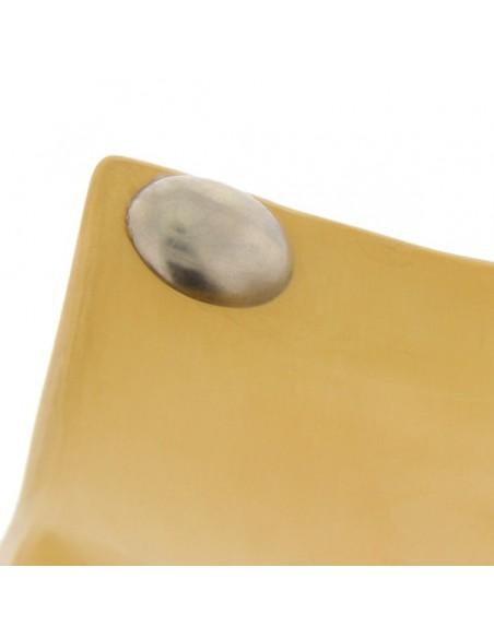 Assiettes a boutons Tadelakt carrées larges jaune