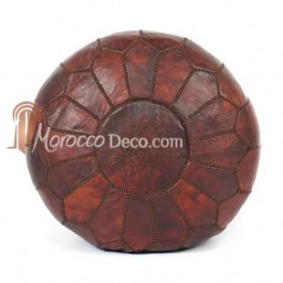 Pouf design cuir marocain couleur chocolat un pouf enti rement en cuir fabr - Pouf cuir marron chocolat ...