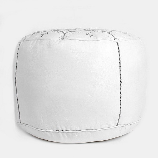 Pouf Nejma en cuir blanc, pouf marocain en cuir véritable fait main