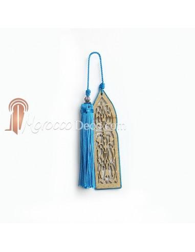 Marque page fait main porte orientale et pompon de soie turquoise