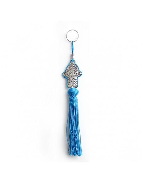 Porte cles main de fatima en métal argenté et pompon en soie Turquoise