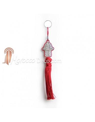 Porte cles main de fatima en métal argenté et pompon en soie Rouge