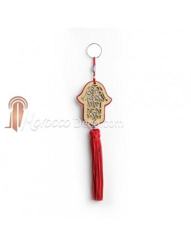 Porte cles main de fatima en bois et pompon en soie Rouge