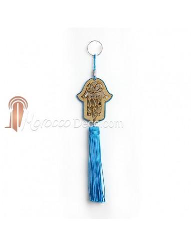 Porte cles main de fatima en bois et pompon en soie Turquoise