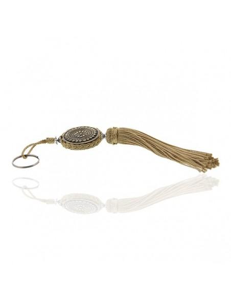 Porte cles Shems, porte cle en métal gravé et pompon en soie Ivoire