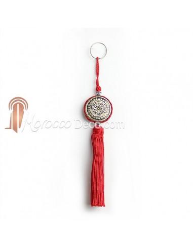Porte cles Shems, porte cle en métal gravé et pompon en soie Rouge
