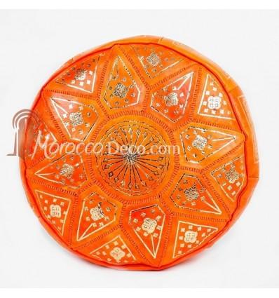 Pouf fassi en cuir Cuir orange, pouffe marocain en cuir veritable fait main