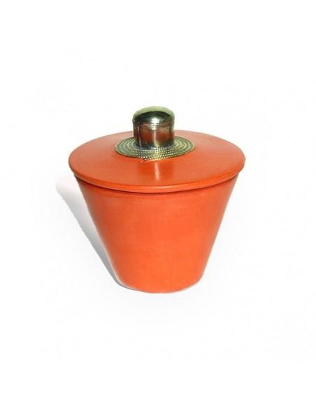 Boite conique tadelakt  rouge brique et son pompon de soie