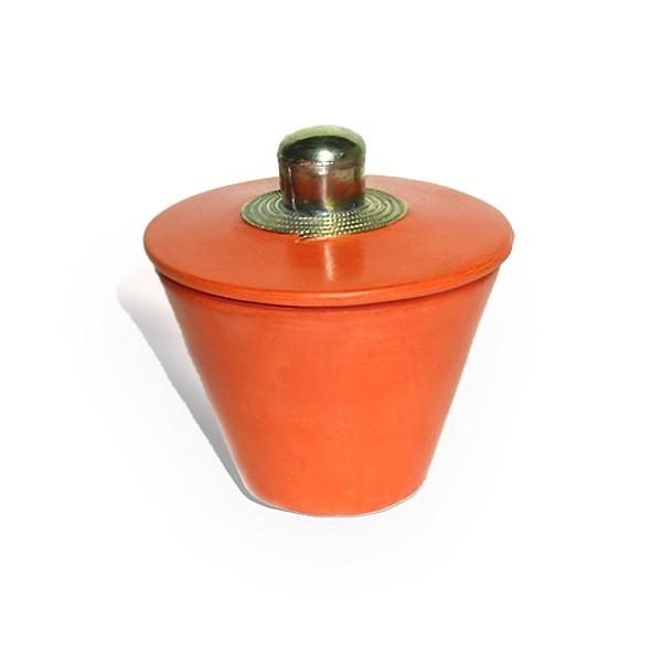 Boite conique tadelakt orange et son pompon de soie