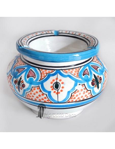 Cendrier marocain fait main bleu et orange