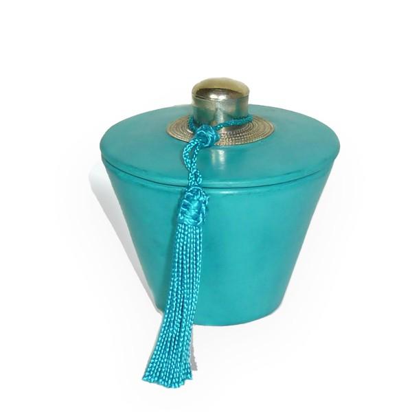 Boite conique tadelakt turquoise et son pompon de soie