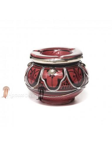 Cendrier marocain fait main rouge brique et noir, cerclé de métal poli et torsadé