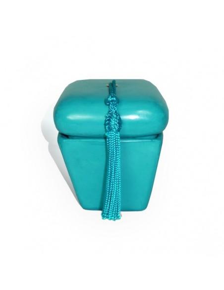 Boite hexaedre tadelakt turquoise et son pompon de soie