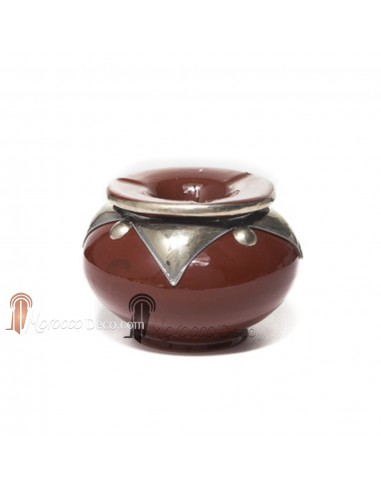 Cendrier marocain fait main marron, cerclé de métal poli et torsadé