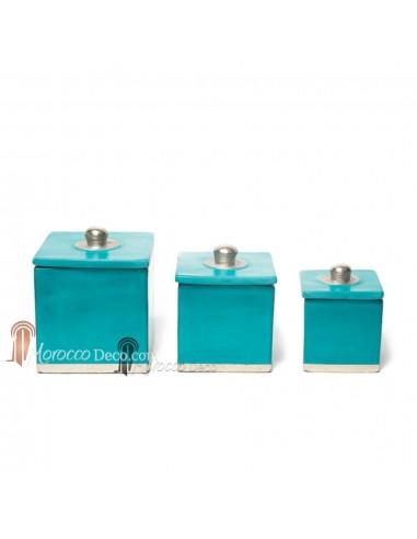 Boite tadelakt carrée turquoise