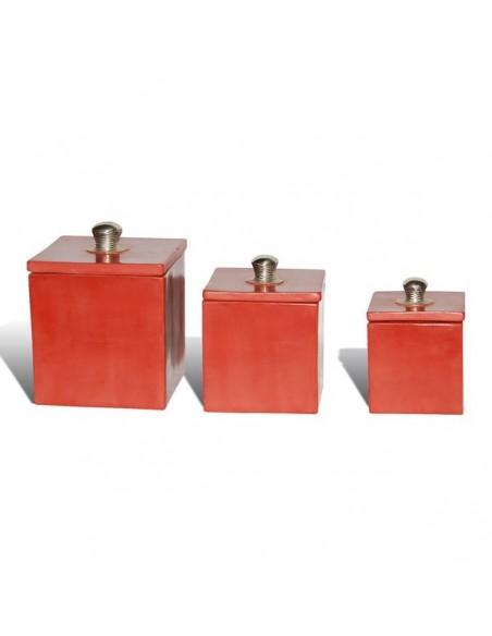 Boite tadelakt carré rouge brique