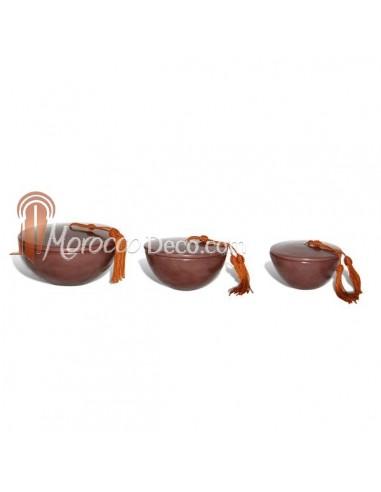 Boite tadelakt ronde marron