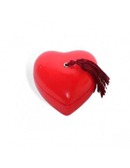 Boite coeur tadelakt rouge pompon bordeau